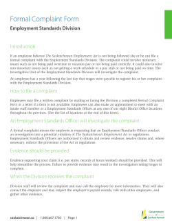 Formal Complaint Form Employment Standards Division Introduction