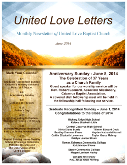 United Love Letters of Anniversary Sunday - June 8, 2014