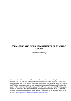 FORMATTING AND CITING REQUIREMENTS OF ACADEMIC PAPERS APA Style Summary