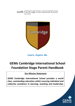GEMs Cambridge International School Foundation Stage Parent Handbook