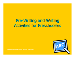 Pre - Writing and Writing Activities for Preschoolers
