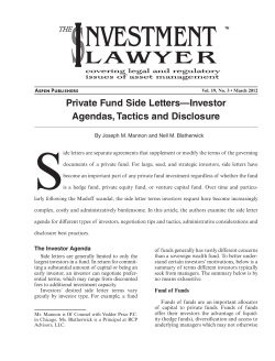 Private Fund Side Letters—Investor Agendas, Tactics and Disclosure