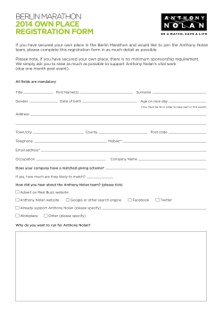 BERLIN MARATHON 2014 OWN PLACE REGISTRATION FORM
