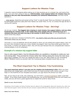 Support Letters for Mission Trips
