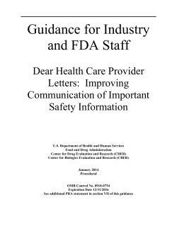 Guidance for Industry and FDA Staff  Dear Health Care Provider