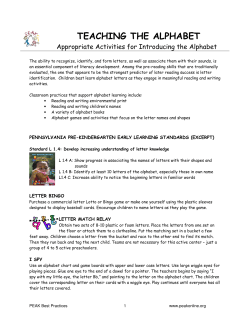 TEACHING THE ALPHABET  Appropriate Activities for Introducing the Alphabet