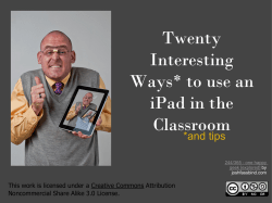 Twenty Interesting Ways* to use an iPad in the