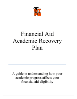 Financial Aid Academic Recovery Plan