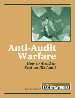 Anti-Audit Warfare How to Avoid or Beat an IRS Audit