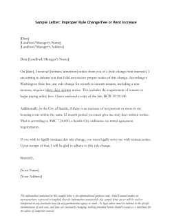 Sample Letter: Improper Rule Change/Fee or Rent Increase  [Date] [Landlord/Manager's Name]