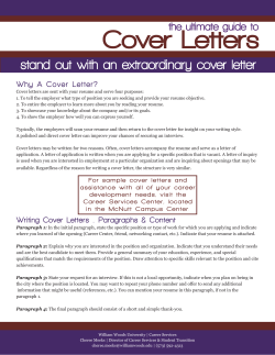 Cover Letters stand out with an extraordinary cover letter