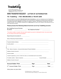 WIRE TRANSFER REQUEST  - LETTER OF AUTHORIZATION