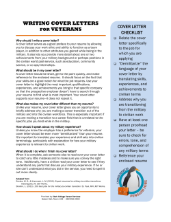 WRITING COVER LETTERS VETERANS COVER LETTER CHECKLIST