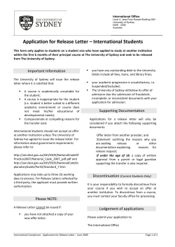 Application for Release Letter – International Students