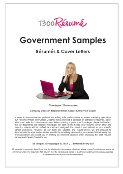 Government Samples Résumés & Cover Letters