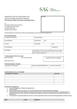 Application Form for Authorisation and  License as Health Personnel in Norway