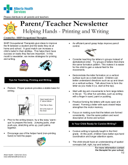 Parent/Teacher Newsletter Helping Hands - Printing and Writing