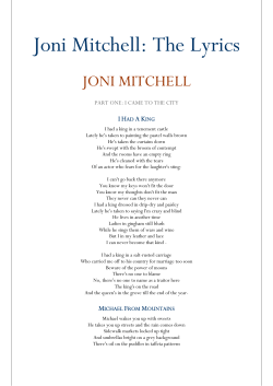 Joni Mitchell: The Lyrics JONI MITCHELL  I