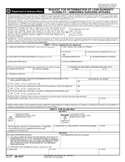 REQUEST FOR DETERMINATION OF LOAN GUARANTY ELIGIBILITY - UNMARRIED SURVIVING SPOUSES