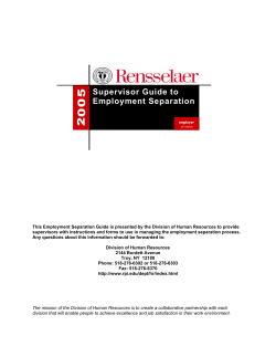 Supervisor Guide to Employment Separation