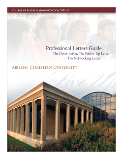 Professional Letters Guide:  Abilene Christian University The Cover Letter, The Follow-Up Letter,