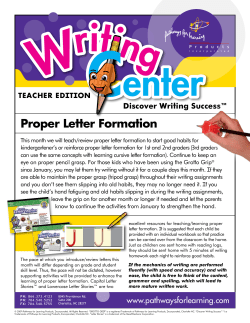 Proper Letter Formation Discover Writing Success™  TEACHER EDITION