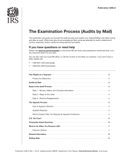 The Examination Process (Audits by Mail) Publication 3498-A
