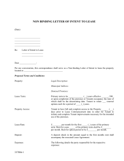 NON BINDING LETTER OF INTENT TO LEASE