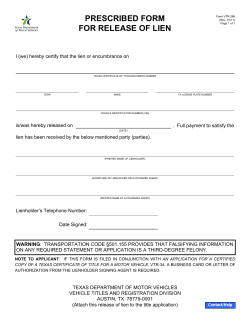 PRESCRIBED FORM FOR RELEASE OF LIEN
