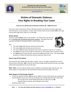 Victims of Domestic Violence: Your Rights In Breaking Your Lease