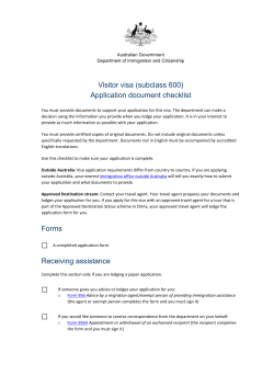 Visitor visa (subclass 600) Application document checklist