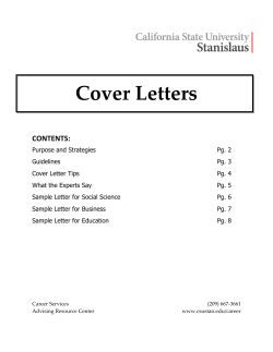 Cover Letters    CONTENTS: