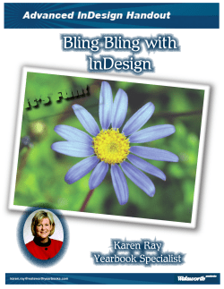 Bling Bling with InDesign It's Fun! Karen Ray