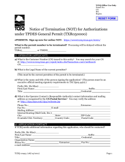Notice of Termination (NOT) for Authorizations under TPDES General Permit (TXR050000)