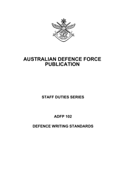 AUSTRALIAN DEFENCE FORCE PUBLICATION STAFF DUTIES SERIES ADFP 102