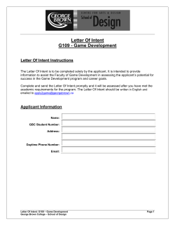 Letter Of Intent G109 - Game Development Letter Of Intent Instructions