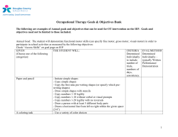 Occupational Therapy Goals & Objectives Bank