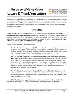 Guide to Writing Cover  Letters & Thank You Letters