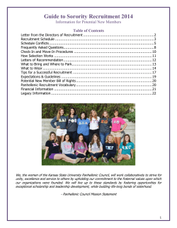 Guide to Sorority Recruitment 2014 Information for Potential New Members