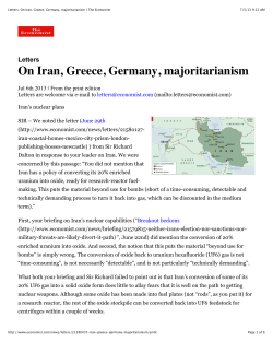 On Iran, Greece, Germany, majoritarianism Letters