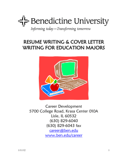 RESUME WRITING & COVER LETTER WRITING FOR EDUCATION MAJORS