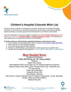 Children's Hospital Colorado Wish List