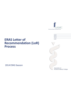 ERAS Letter of Recommendation (LoR) Process