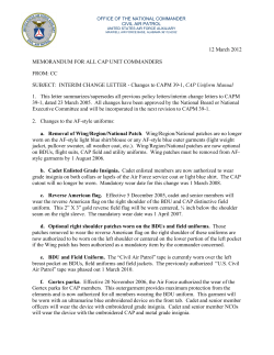 12 March 2012 MEMORANDUM FOR ALL CAP UNIT COMMANDERS FROM: CC