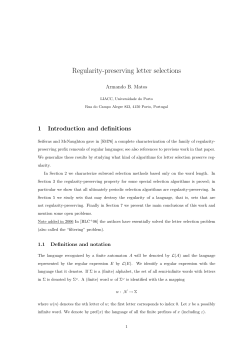 Regularity-preserving letter selections 1 Introduction and definitions Armando B. Matos