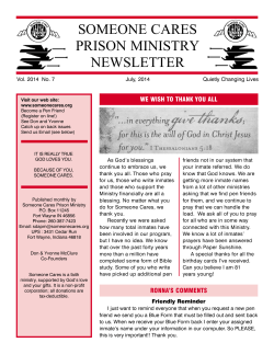 SOMEONE CARES PRISON MINISTRY NEWSLETTER WE WISH TO THANK YOU ALL