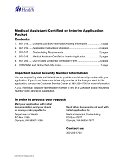 Medical Assistant-Certified or Interim Application Packet Contents: