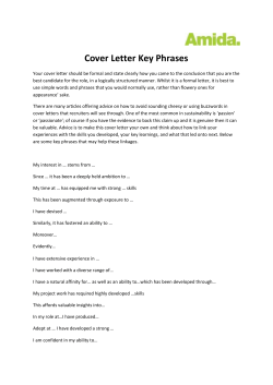 Cover Letter Key Phrases