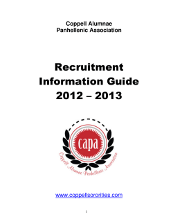 Recruitment Information Guide 2012 – 2013