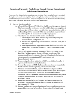 American University Panhellenic Council Formal Recruitment Policies and Procedures